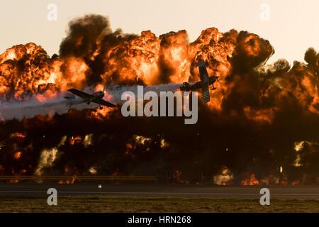 Australia, Melbourne. 3rd Mar, 2017. Aerobatic aircrafts perform during the Australian International Aerospace and - Stock Photo