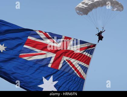Melbourne, Australia. 3rd Mar, 2017. Photo taken on March 3, 2017 shows skydiving performance during the Australian - Stock Photo