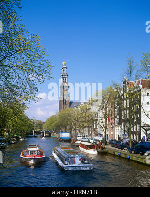 Prinsengracht and Westerkerk, Amsterdam, Holland, Netherlands. - Stock Photo