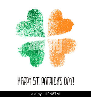 Happy St. Patrick's Day - Four leaf Irish clover with colors of the Ireland flag - Stock Photo