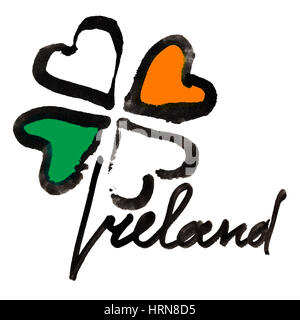 Ireland. Four leaf Irish clover with colors of the Ireland flag and lettering over white background - Stock Photo