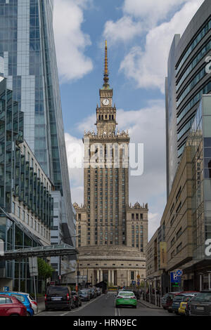 The Palace of Culture and Science in Warsaw, an example of Stalinist architecture - Stock Photo