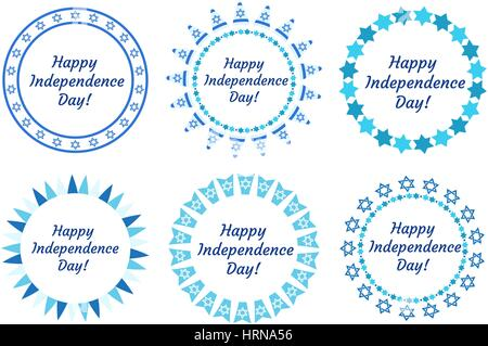 Happy Independence Day of Israel set of round frames with space for text. Jewish Holidays Border for your design. - Stock Photo