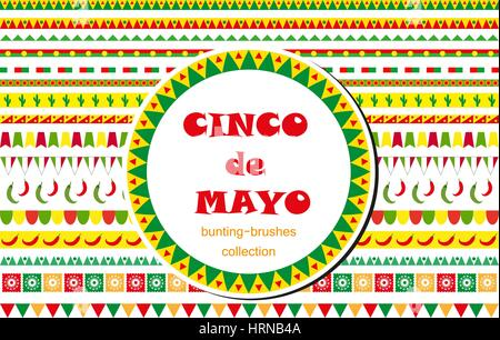 Cinco de Mayo celebration set of borders, ornaments, bunting. Flat style, isolated on white background. Vector illustration, - Stock Photo