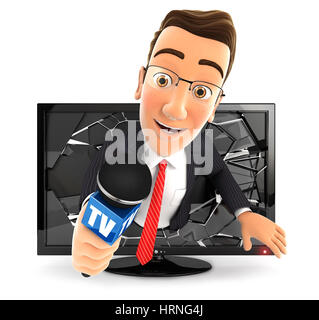 3d businessman with microphone coming out of television, illustration with isolated white background - Stock Photo