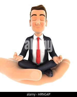 3d hand holding businessman doing yoga, illustration with isolated white background - Stock Photo
