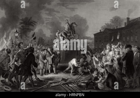 NYC, Pulling Down Statue of George III, 1776 - Stock Photo
