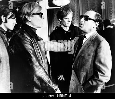 Andy Warhol and Tennessee Williams, S.S. France, 1967 - Stock Photo