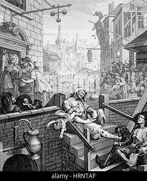Gin Lane by William Hogarth, 1751 - Stock Photo