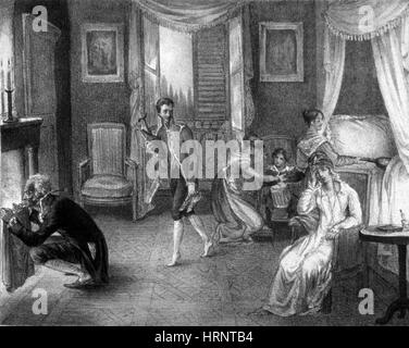 Mother with Migraine Helped by Family, 1823 - Stock Photo