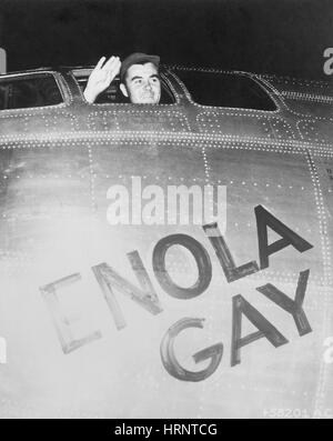 Tibbets Waving from the Enola Gay, 1945 - Stock Photo