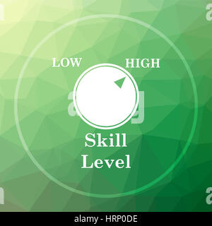 Skill Level Website Button On Green Low Poly Background