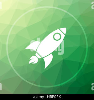 Rocket icon. Rocket website button on green low poly background. - Stock Photo