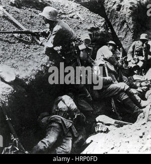 WWI, German Trench, Battle of the Somme, 1916 - Stock Photo