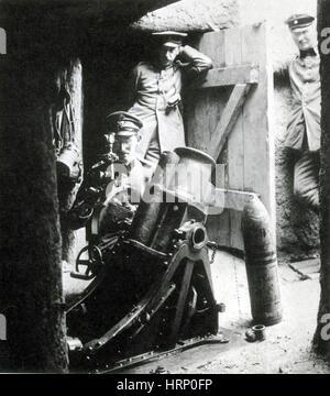 WWI, German Minenwerfer, Battle of Verdun, 1916 - Stock Photo