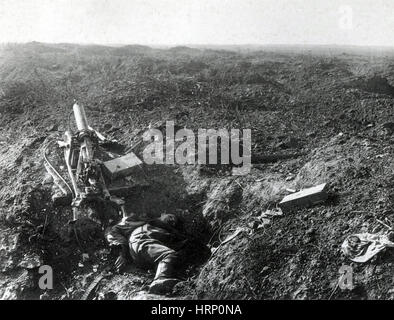 WWI, Dead German Machine Gunner, Ypres Salient - Stock Photo