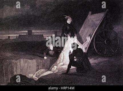 Great Plague Mass Burial Pit, London, 1665 - Stock Photo