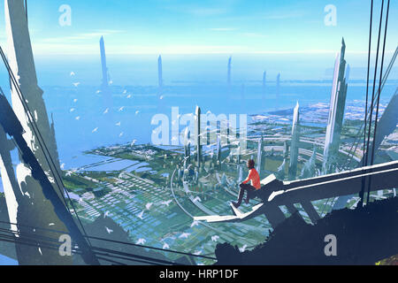 aerial view with the man sitting on edge of building looking at futuristic city,illustration painting - Stock Photo