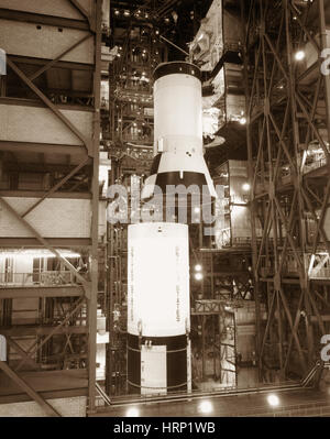 Saturn V Launch Vehicle Assembly, Apollo 11 - Stock Photo