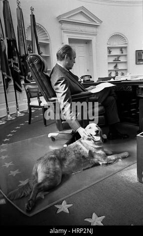 President Ford with Liberty, 1974 - Stock Photo