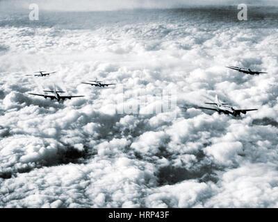 WWII, B-17 Bombers in Flight - Stock Photo