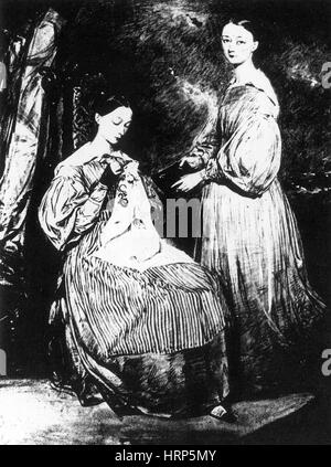 Young Florence and Parthenope Nightingale, 1836 - Stock Photo