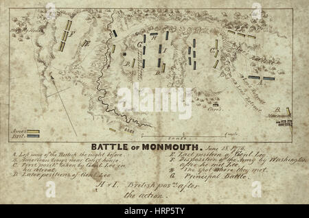 Battle Positions, Battle of Monmouth, 1778 - Stock Photo