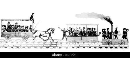 Tom Thumb Races Stagecoach, 1830 - Stock Photo
