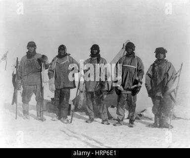 Ill-Fated Terra Nova Expedition Crew, 1911 - Stock Photo