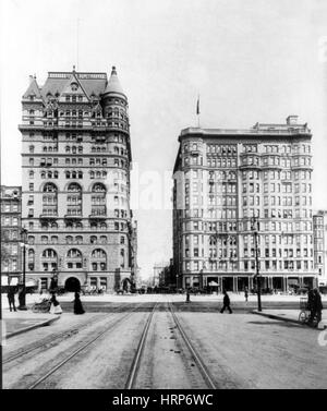 NYC, Hotel Netherland and Hotel Savoy, 1894 - Stock Photo