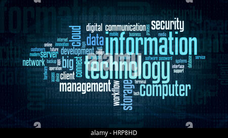 word cloud with terms about information technology, flat style - Stock Photo