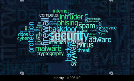 word cloud with terms about computer security, flat style - Stock Photo