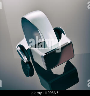 virtual reality headset on a reflecting surface (3d render) - Stock Photo