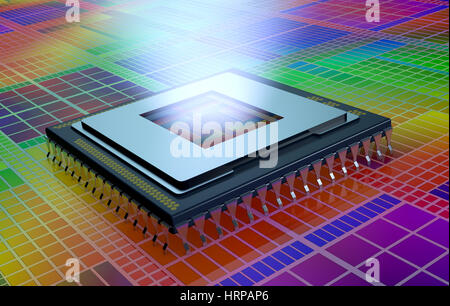 close up view of a CPU on an electronic circuit, the cpu is without the cover and a light comes out from the hole - Stock Photo