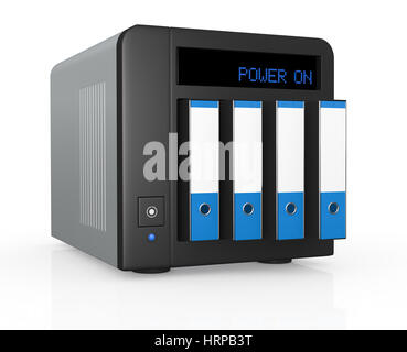 one nas (network attached storage) with four office folders instead of hard drives (3d render) - Stock Photo
