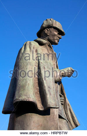 Sherlock Holmes statue, in memory of the Scottish author and creator of the character, Sir Arthur Conan Doyle 1859 - Stock Photo