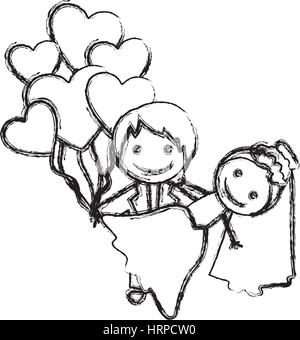 blurred hand drawn silhouette with married couple and balloons of hearts - Stock Photo