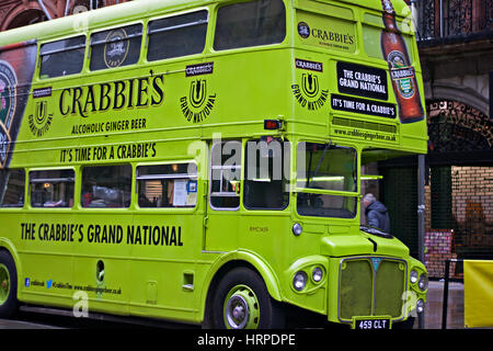 SPONSORS BUS ON THE STREETS OF LIVERPOOL PROMOTING THE 2016 AINTREE GRAND NATIONAL HORSE RACE EVENT. LIVERPOOL UK - Stock Photo