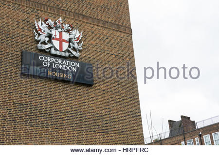 The Corporation of London Coat of Arms on the side of a building in Southwark, London, UK - Stock Photo
