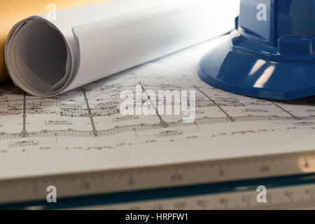 Workplace of architect - Architect rolls and plans.architectural plan,technical project drawing. Engineering tools - Stock Photo