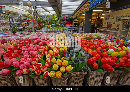 Wooden flowers at Bloemenmarkt flower markets, Amsterdam, Netherlands - Stock Photo