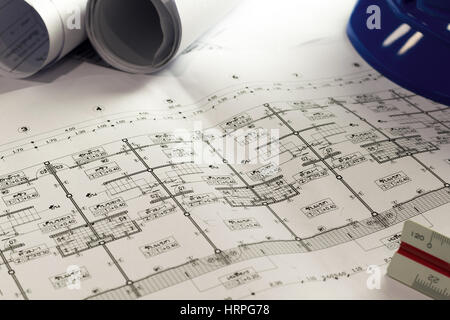 Engineering diagram blueprint paper drafting project sketch stock part of architectural project engineering diagram blueprint paper drafting project sketch architecturalselective focus stock photo malvernweather Image collections