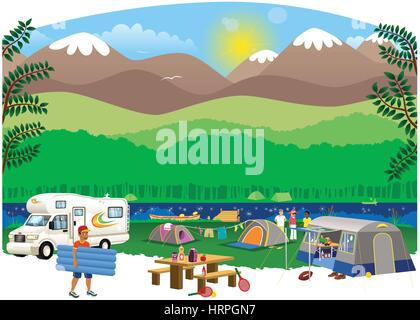 An illustration of a typical camping site scene, out in the wilderness and next to a large river. - Stock Photo