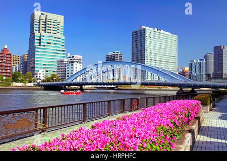 Eitai Bridge over Sumida River in Tokyo Japan - Stock Photo