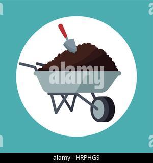 wheelbarrow with eart shovel garden - Stock Photo