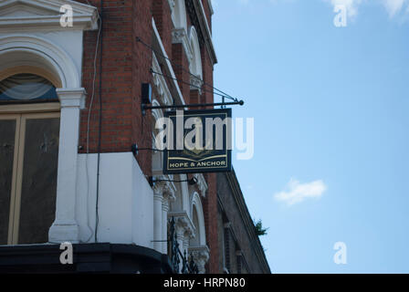 Sign for the Hope And Anchor pub in Islington, London - Stock Photo