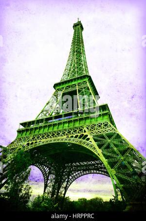 Eiffel Tower - retro postcard styled. - Stock Photo