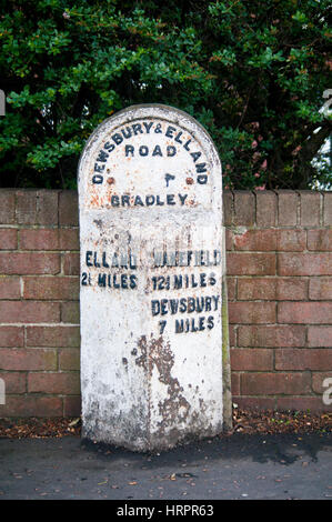A old milestone in Huddersfield, West Yorkshire, England - Stock Photo