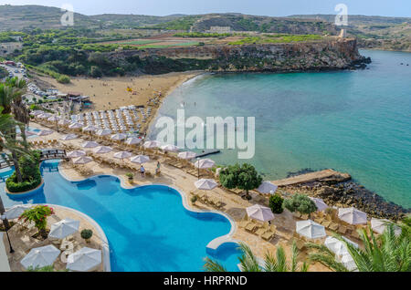 View of Golden Bay from Hotel – Malta - Stock Photo