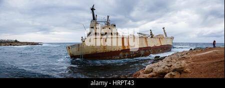 Wreck of the Edro III, Pegeia, near Paphos, Cyprus - Stock Photo